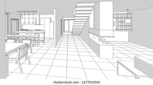 interior kitchen living room 3d illustration