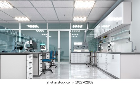 Interior of laboratory workplace. 3d illustration