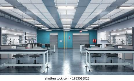 Inneneinrichtung des Laboratoriums. 3D-Illustration