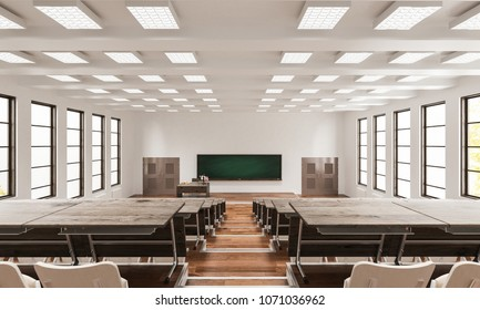Interior of a Lecture Hall As Seen from the Rear 3d rendering