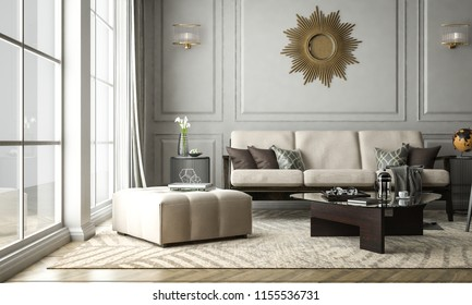 Interior living modern classic style, decoration frame wall, 3D rendering, 3D illustration