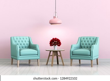 interior living pink room with armchair and rose valentine. 3D render