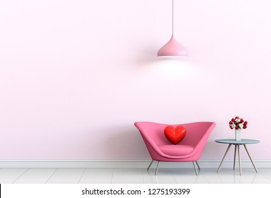 interior living pink room with pink sofa and heart valentine. 3D render