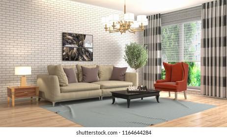 Interior Living Room 3 D Illustration Stock Illustration 1321006160 ...