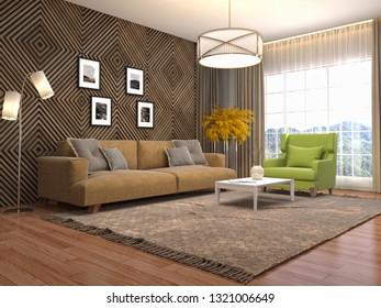 Interior of the living room. 3D illustration