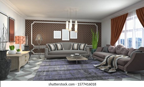 Interior of the living room. 3D illustration.