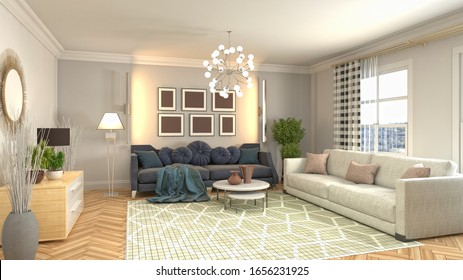 Inneres des Wohnzimmers. 3D-Abbildung.