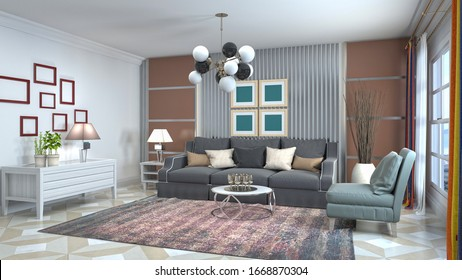 Inneres des Wohnzimmers.3D-Abbildung.