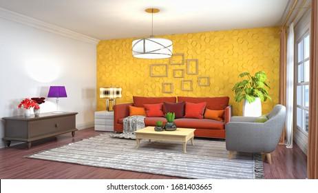 Interior del salón. Ilustración 3D.