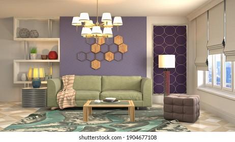 El interior del salón. Ilustración 3D.