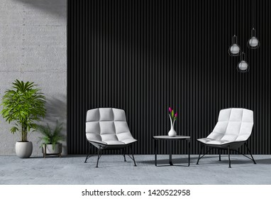 interior living room with armchair. 3D render