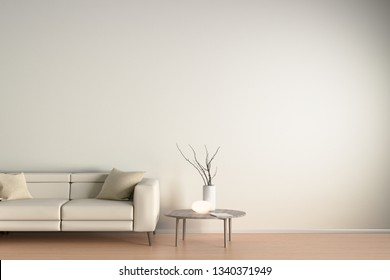 Interior of living room with beige leather sofa, night lamp and branches in vase on wooden coffee table. 3d illustration