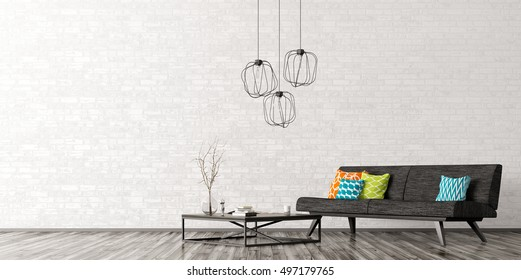 Interior of living room with black sofa, coffee table, lamps over brick wall 3d rendering