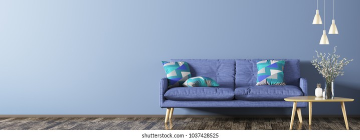 Interior of living room with blue sofa, wooden coffee table with flower vase and lamps panorama 3d rendering
