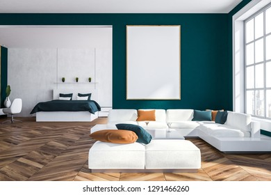Interior of living room with blue walls, wooden floor, big windows, white sofa standing near square coffee table with bedroom in the background. Vertical poster 3d rendering mock up