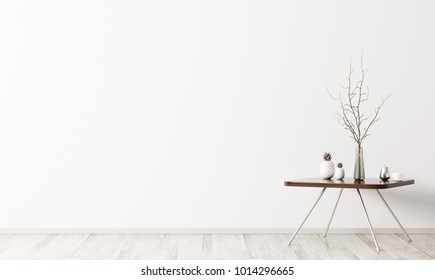 Interior of living room with coffee table 3d rendering
