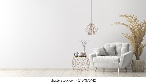 Interior of living room with coffee table and white armchair, home design 3d rendering