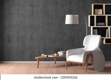 Interior of living room with cozy white leather armchair with plaid, wooden triangular coffee table, floor lamp and bookshelf on the gray concrete wall. 3d illustration