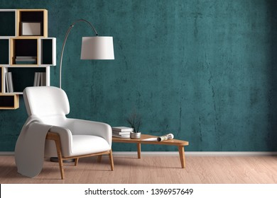 Interior of living room with cozy white leather armchair with plaid, wooden triangular coffee table, floor lamp and bookshelf on the cyan concrete wall. 3d illustration