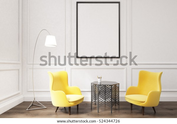 Inneneinrichtung eines Wohnzimmers mit gerahmtem Vertikalposter, zwei gelben Sesseln, einer Lampe und einem Couchtisch. 3D-Darstellung. Aufziehen