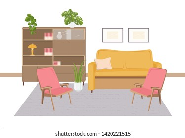 Interior of living room furnished with retro furniture and home decorations in 1970-s style - comfortable sofa, armchairs, shelving, houseplants, lamp, carpet. Flat cartoon illustration.