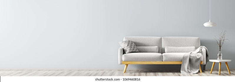 Interior of living room with gray sofa, wooden coffee table with vase with branch and lamp panorama 3d rendering