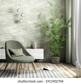 Interior of living room with green armchair and white cabinet against stucco wall, home design 3d rendering