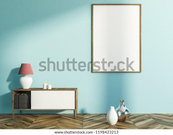 Interior Living Room Light Blue Walls Stock Illustration 1198423213