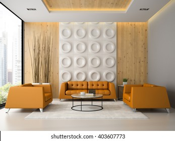 Interior of living room with orange armchairs and sofa 3D rendering