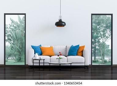 Interior living room and park landscape. 3D render