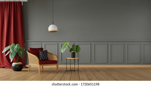 interior of living room with red curtain and lot of plants, 3d rendering