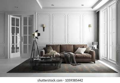 Interior living room studio, white modern classic style, with loose sofa, mock-up type, 3D rendering, 3D illustration