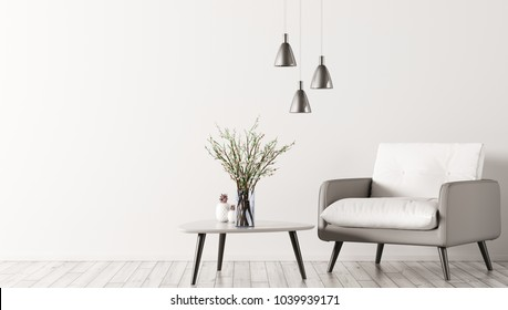 Interior of living room with triangular coffee table, lamps and white grey armchair 3d rendering