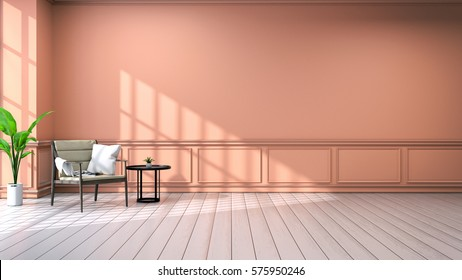 Interior of living room .vintage style .with wood armchair and black coffee table,white floor and orange wall /3d rendering