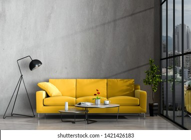 interior living room wall concrete with sofa, plant, lamp, decoration, 3D render