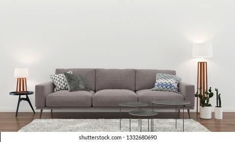 interior living room wall wood floor sofa lamp rug pastel color background template 3d render
