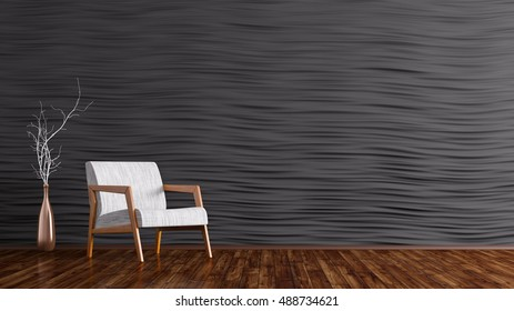 Interior of living room with white armchair, wooden floor, black wall paneling 3d rendering