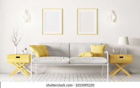 Interior of living room with white sofa, side tables,lamps and frames 3d rendering