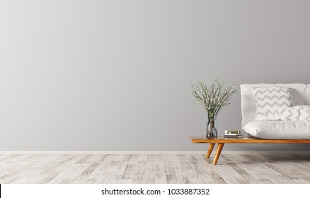 Interior of living room with white sofa, scandinavian style, 3d rendering
