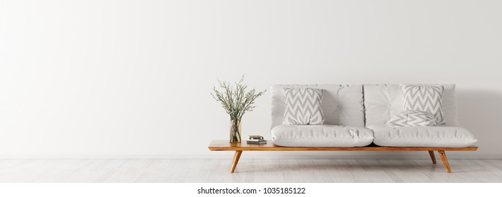 Interior of living room with white sofa, scandinavian style, panorama 3d rendering