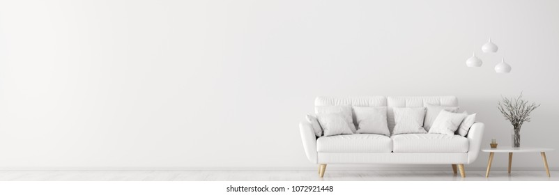 Interior of living room with white sofa, coffee table and lamps, panorama 3d rendering