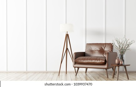Interior of living room with wooden coffee table,floor lamp and brown armchair 3d rendering