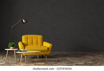 Interior of living room with wooden triangular coffee tables, floor lamp and  yellow armchair over black stucco wall 3d rendering