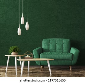 Interior of living room with wooden triangular coffee tables, lamps and green armchair over stucco wall 3d rendering