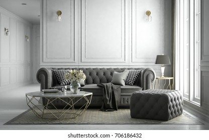 Interior living studio, modern classic style, 3D rendering, 3D illustration