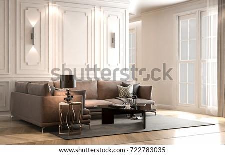 Modern Interieur Living : Interior living studio modern classic style stockillustration