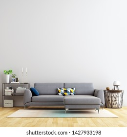Interior Living Wall Background Mockup with Sofa Furniture and Decor - 3d Rendering, 3d Illustration