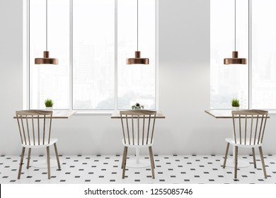 Interior of loft cafe with white walls, tiled floor, square wooden tables and white and wooden chairs standing near them. 3d rendering