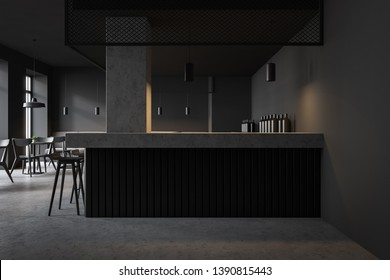 Interior of loft style pub with gray walls, concrete and gray bar counter with stools and black chairs near square tables. 3d rendering