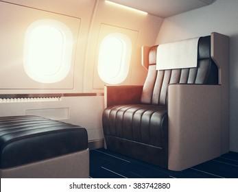 Interior of luxury airplane. Empty leather chair, sunlight illuminator. Horizontal mockup. 3d render